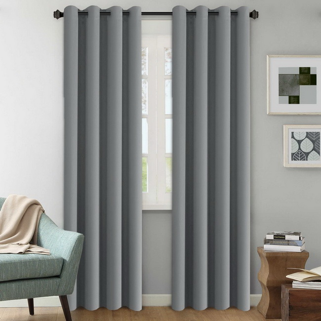 Mẫu rèm cửa đẹp Tp HCM - Rèm vải cao cấp gấm tráng xi màu ghi xám